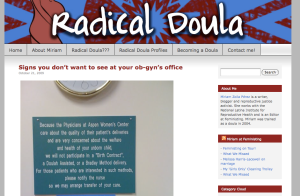 Screenshot of Radical Doula Blog