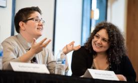 Photo of Miriam and Shelby Knox speaking at Ms at 40 event at Stanford